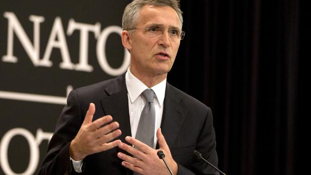 Nato secretary general Jens Stoltenberg speaks during a media conference in Brussels (AP)