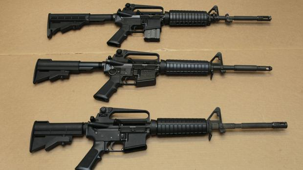 Three variations of the AR-15 assault rifle used to kill 49 people in an Orlando nightclub (AP)