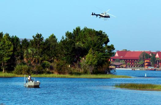 A helicopter searches for a young boy yesterday, after he was dragged into the water by an alligator in Florida. Photo: AP