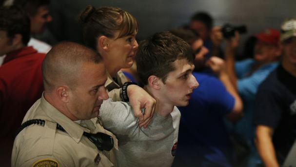 Michael Steven Sandford is removed from the Treasure Island hotel and casino in Las Vegas (AP)