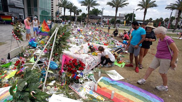 A makeshift memorial to the victims of the Pulse nightclub mass shooting in Orlando, Florida (AP)