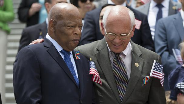 Senior Democrats including John Lewis, left, take part in a news conference on gun legislation in Washington (AP)