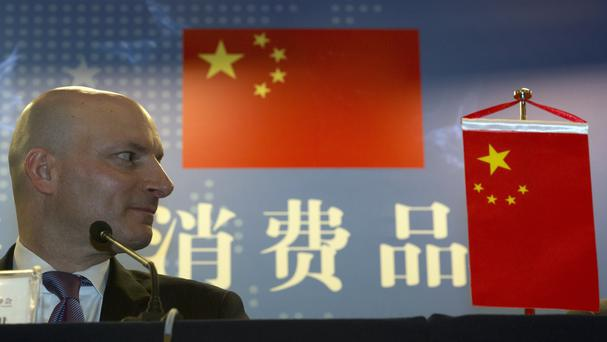 Elliot F Kaye, chairman of the Consumer Product Safety Commission, looks over during a press conference held after the 5th China-US-EU Consumer Product Safety Trilateral Summit in Beijing (AP)