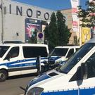 Police cars in front of the cinema in Viernheim near Mannheim, southern Germany (Simon Ribnitzky/dpa via AP)
