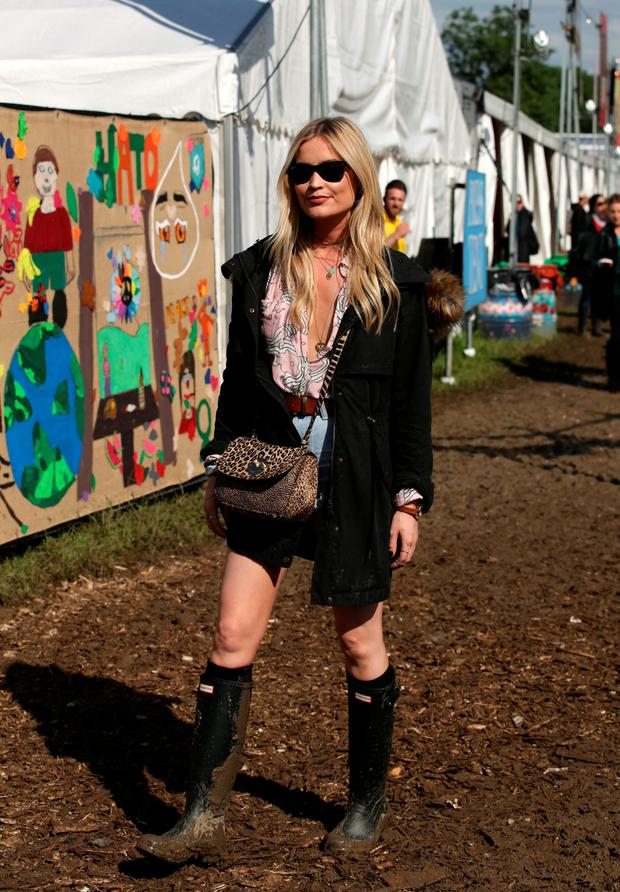 Laura Whitmore attends Glastonbury yesterday. Photo: PA