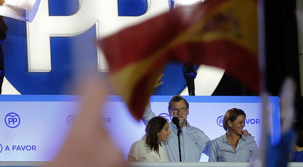 Mariano Rajoy celebrates the results of the national elections in Madrid (AP)