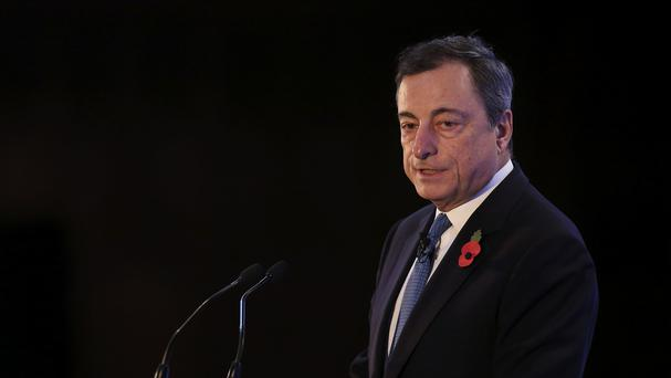 Mario Draghi said the current slow-growth world of high savings, low investment and weaker productivity could be tackled with pro-growth policies such as more public spending