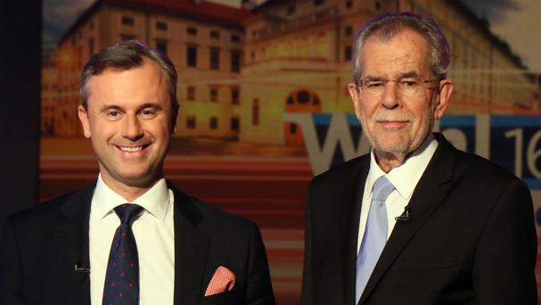 Norbert Hofer of Austria's Freedom Party, left, had narrowly lost against Alexander Van der Bellen, candidate of the Austrian Greens (AP)