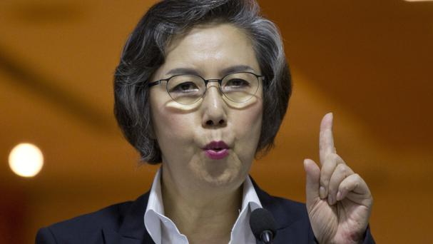 Yanghee Lee, Special Rapporteur on the situation of human rights in Burma, gestures during a media conference in Yangon (AP)