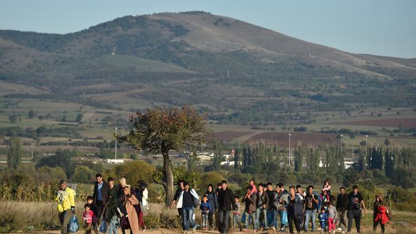 Some of the migrants and refugees who have crossed the border from Macedonia to Serbia