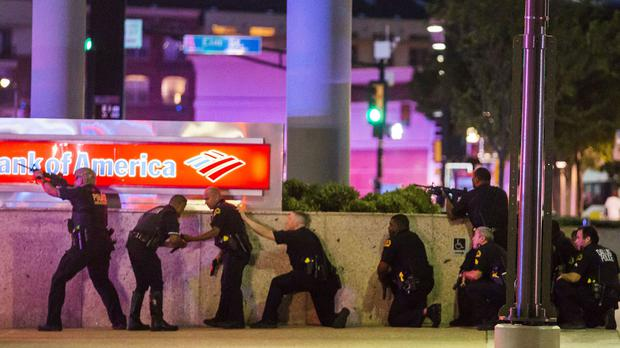Dallas police respond after shots were fired at a Black Lives Matter rally (Smiley N/ Pool/The Dallas Morning News/AP)