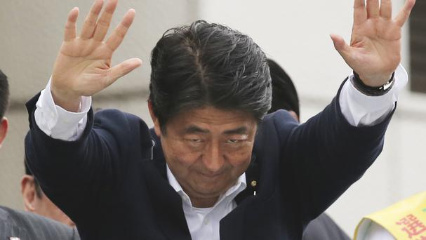 Japanese Prime Minister Shinzo Abe during campaigning for the upper house of parliament elections (AP)