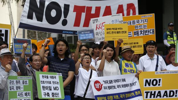 South Koreans shout slogans during a rally to denounce deploying the US's Terminal High-Altitude Area Defence, or Thaad, system (AP)