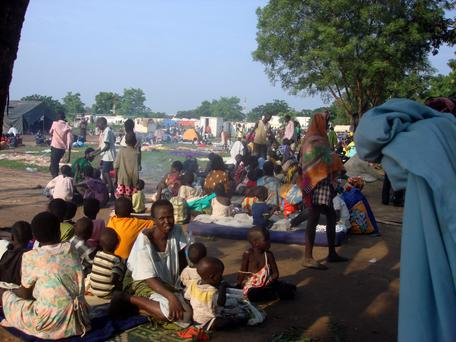 Displaced families sit in a camp for internally displaced people in the United Nations Mission in South Sudan compound in Tomping, Juba, South Sudan, yesterday. Photo: Reuters