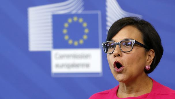 US secretary of commerce Penny Pritzker speaks during a joint news conference in Brussels (AP)