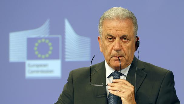 EU commissioner Dimitris Avramopoulos addressed a news conference (AP)