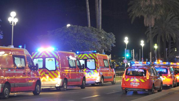 Emergency vehicles near the scene of the attack in Nice. Photo: AP