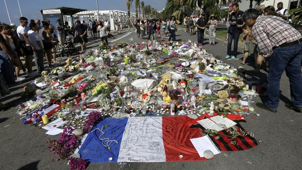 Flowers left on the seafront in Nice in tribute to the victims of the truck attack (AP)