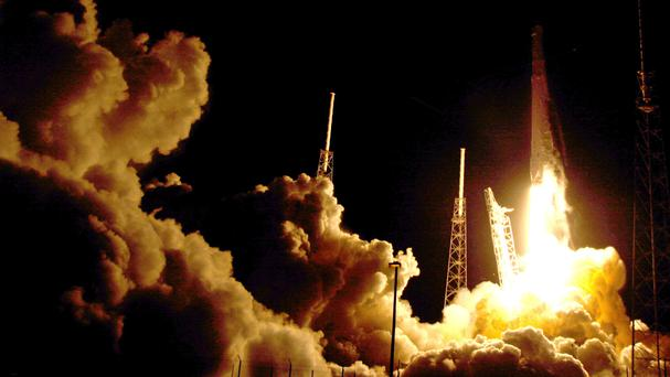 The Falcon 9 SpaceX rocket lifts off from Cape Canaveral, Florida (AP)