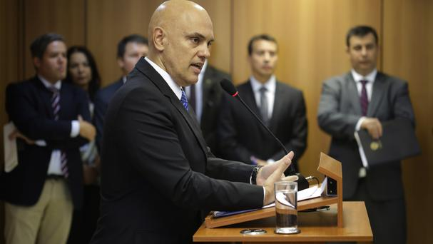 Justice minister Alexandre de Moraes speaks about the arrests of 10 people who allegedly discussed possible attacks during the Rio Olympics (AP)