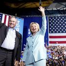 Hillary Clinton and Tim Kaine at a rally at Northern Virginia Community College in Annandale earlier this month (AP)
