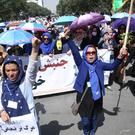 Thousands of demonstrators took part in the march in Kabul (AP)