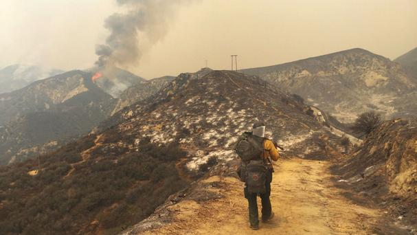 USDA forest service firefighter Simeon Hagens in Santa Clarita, California (Katharine Lotze/The Santa Clarita Valley Signal via AP)