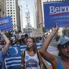 Supporters of Bernie Sanders march during a protest in Philadelphia (AP)