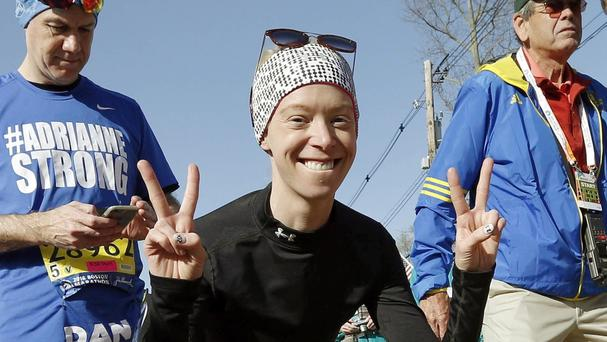 Boston Marathon bombing survivor Adrianne Haslet before running in the 120th Boston Marathon (AP)