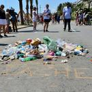A pile of rubbish left at the spot where the lorry stopped and the terrorist driver was killed on the Promenade des Anglais in Nice