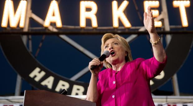 Hillary Clinton sets out her stall during a rally at Broad Street Market in Harrisburg, Pennsylvania (AP)