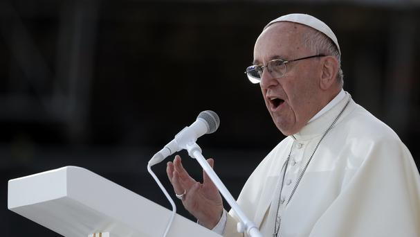Pope Francis delivers his message during a prayer vigil on the occasion of the World Youth Days, in Campus Misericordiae in Brzegi, near Krakow, Poland (AP)