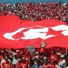 The Tunisian national flag displayed by football supporters