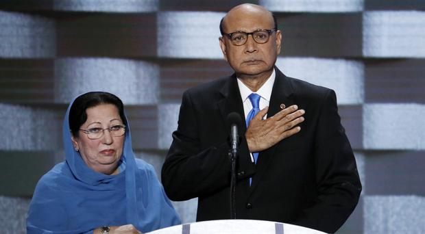 Khizr Khan and his wife Ghazala at the Democratic National Convention in Philadelphia (AP)