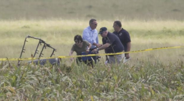 The partial frame of the hot air balloon is visible above crops as investigators comb the wreckage (AP)