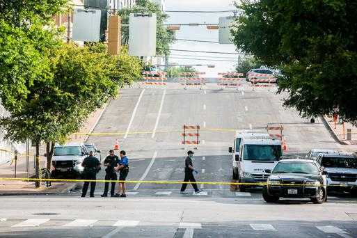 Police block off an area of 6th Street in downtown Austin, Texas, yesterday after two shootings. Photo: Getty/Drew Anthony Smith