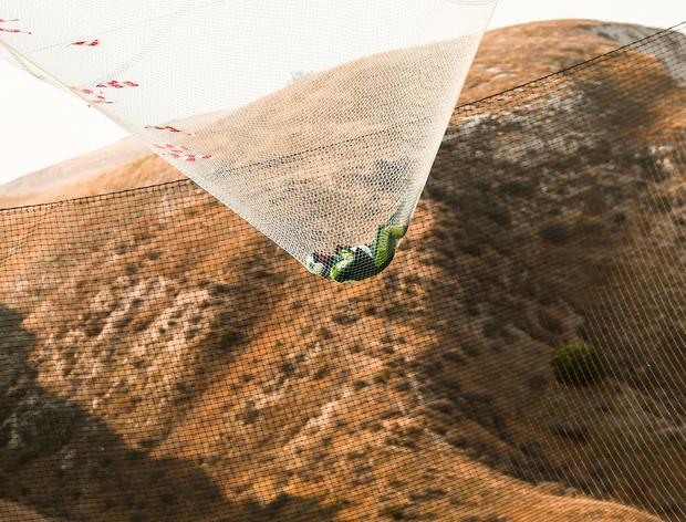 Skydiver Luke Aikins lands safely after jumping 25,000 feet. Photo: Getty