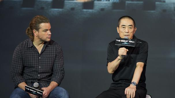 Hollywood star Matt Damon and movie director Zhang Yimou during a news conference about their latest film, The Great Wall (AP)