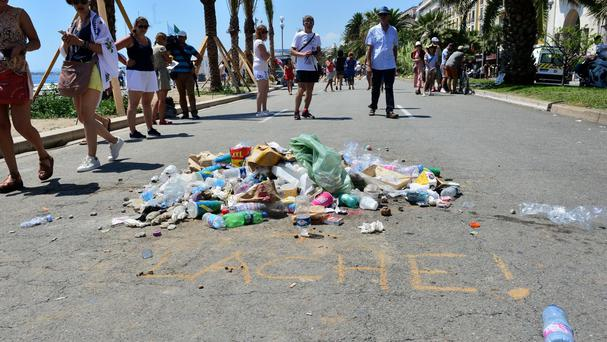 A pile of rubbish left to signify the spot where the lorry stopped and the terrorist driver was killed on the Promenade des Anglais in Nice, France