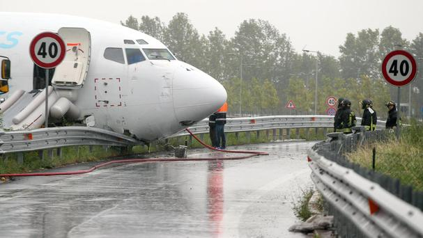 The cargo plane that skidded off a runway at Orio al Serio airport near Milan (Matteo Bazzi/ANSA via AP Photo)