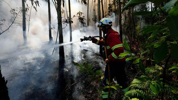 A firefighter works to stop a fire in Quintela, near Arouca, in the region of Aveiro, northern Portugal (AP)