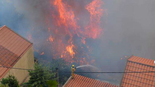 A firefighter works to stop a forest fire from reaching houses in Curral dos Romeiros, on the outskirts of Funchal (AP)