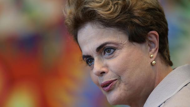 Suspended Brazilian President Dilma Rousseff speaks during a press conference (AP)