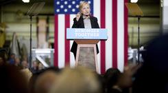 Democratic presidential candidate Hillary Clinton gives a speech on the economy in Michigan (AP)