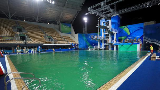 The green pool at the Maria Lenk Aquatics Centre is to be drained and refilled with fresh water