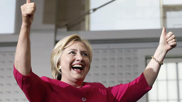 Democratic presidential candidate Hillary Clinton reacts as she is introduced at a Pennsylvania Democratic Party voter registration event (AP)