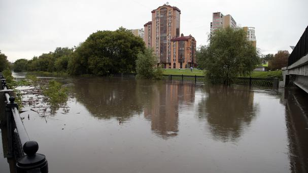 A view of the river after it overflowed its banks in Moscow, Russia (AP)