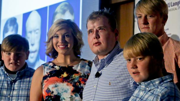 Former Mississippi firefighter Patrick Hardison, 42, with four of his children (AP)