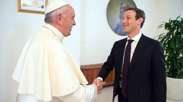 Pope Francis meets Facebook founder and CEO Mark Zuckerberg in Vatican City (L'Osservatore Romano/Pool Photo via AP)