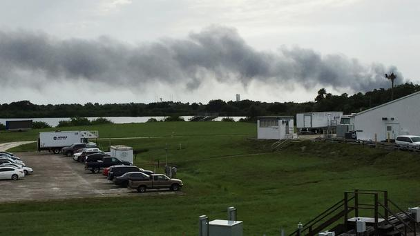 Smoke rises from a SpaceX launch site at Cape Canaveral (AP)